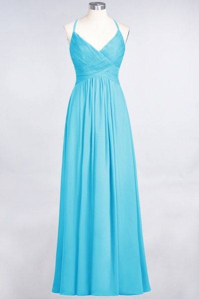 A-Line Chiffon Spaghetti-Straps V-Neck Sleeveless Floor-Length Bridesmaid Dress with Ruffles_23