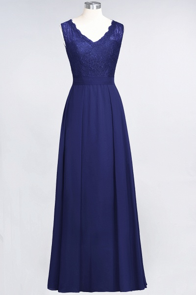 A-Line Chiffon Lace V-Neck Sleeveless Floor-Length Bridesmaid Dress_25