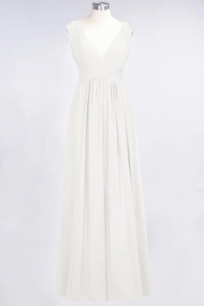 A-Line Chiffon V-Neck Sleeveless Floor-Length Bridesmaid Dress with Ruffle_2