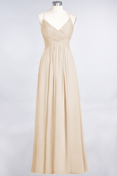 A-Line Chiffon Spaghetti-Straps V-Neck Sleeveless Floor-Length Bridesmaid Dress with Ruffles_14