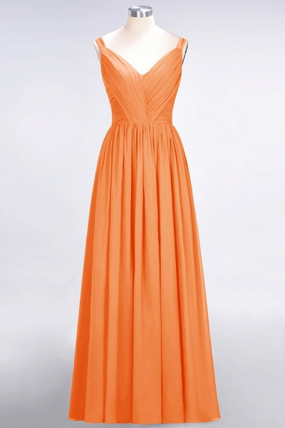 A-Line Chiffon Straps V-Neck Sleeveless Backless Floor-Length Bridesmaid Dress with Ruffles_15