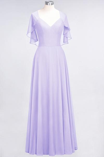 A-Line Chiffon Satin V-Neck short-sleeves Floor-Length Bridesmaid Dress_20