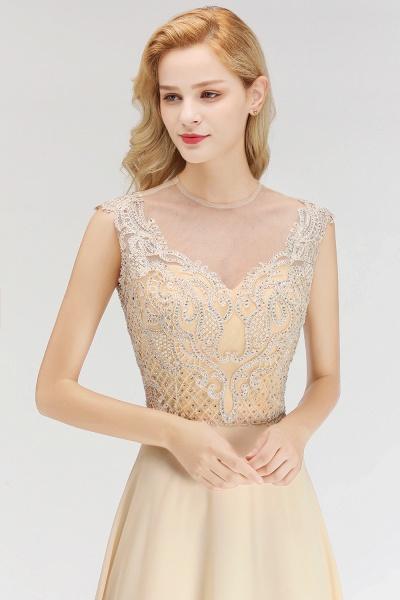 BM0074 Elegant A-Line Champagne Sleeveless Crystal Jewel Bridesmaid Dress_6