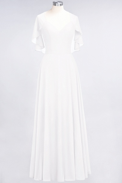 A-Line Chiffon Satin V-Neck short-sleeves Floor-Length Bridesmaid Dress_1