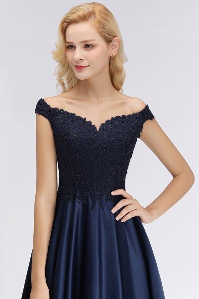 BM0067 Elegant Off-the-Shoulder Ruffles Beads Sleeveless Bridesmaid Dress_4