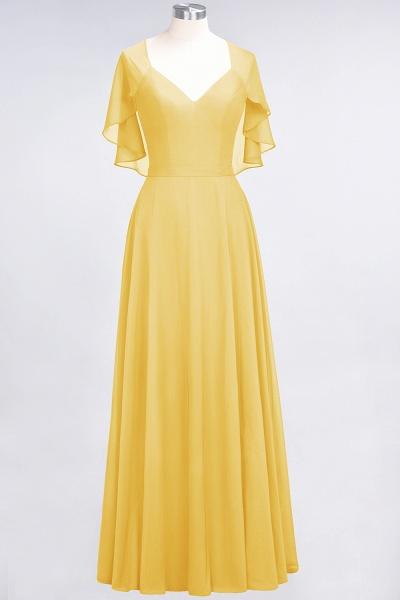 A-Line Chiffon Satin V-Neck short-sleeves Floor-Length Bridesmaid Dress_16