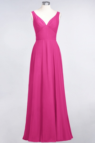 A-Line Chiffon V-Neck Straps Sleeveless Ruffles Floor-Length Bridesmaid Dress with Open Back_9