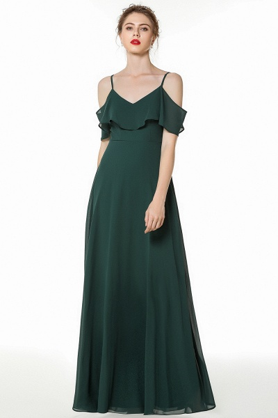 BM0826 Simple Spaghetti Straps Open Back Long Bridesmaid Dress_3