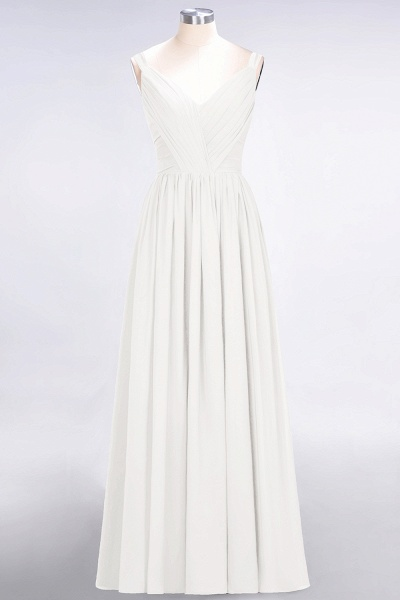 A-Line Chiffon Straps V-Neck Sleeveless Backless Floor-Length Bridesmaid Dress with Ruffles_2