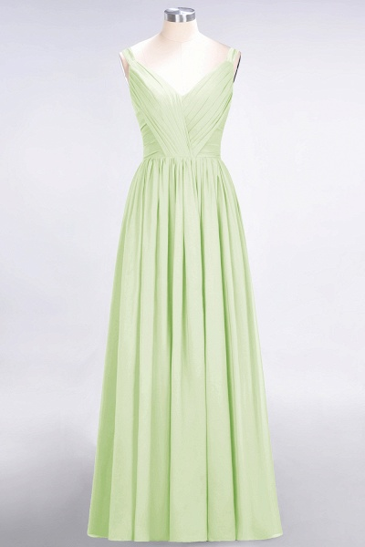 A-Line Chiffon Straps V-Neck Sleeveless Backless Floor-Length Bridesmaid Dress with Ruffles_33