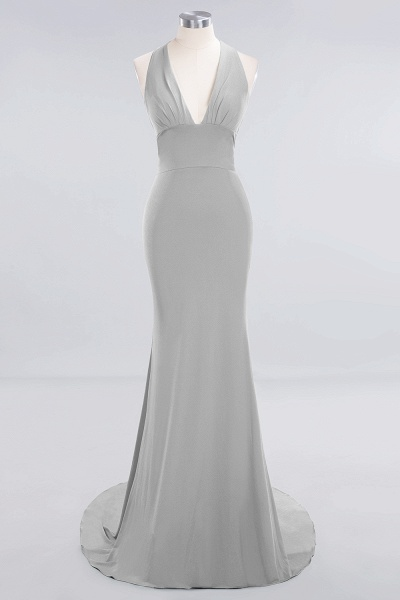 BM0670 Elegant Mermaid Halter Pool V-neck Bridesmaid Dress_26