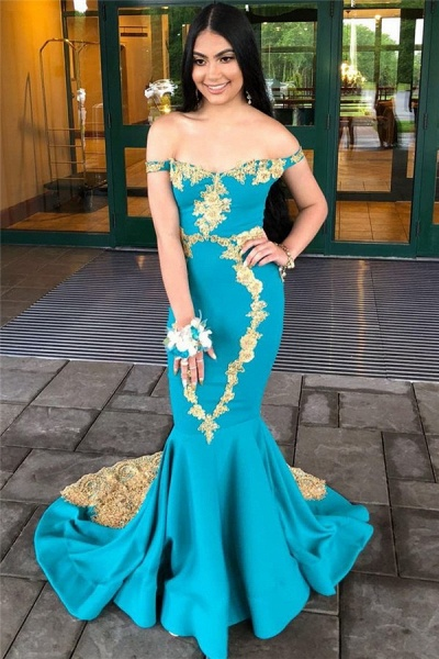 Amazing Off-the-shoulder Appliques Mermaid Prom Dress_3