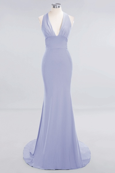 BM0670 Elegant Mermaid Halter Pool V-neck Bridesmaid Dress_19
