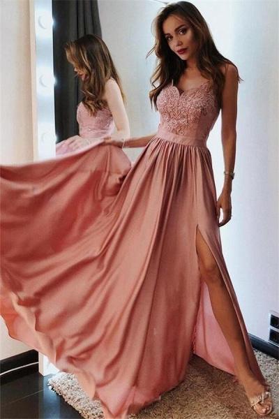 Fascinating Spaghetti Straps Split Front A-line Prom Dress_1