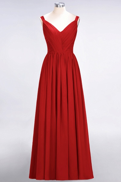A-Line Chiffon Straps V-Neck Sleeveless Backless Floor-Length Bridesmaid Dress with Ruffles_8