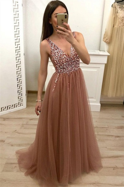 Chic Straps Sequined A-line Prom Dress_1