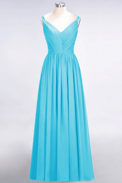 A-Line Chiffon Straps V-Neck Sleeveless Backless Floor-Length Bridesmaid Dress with Ruffles_23