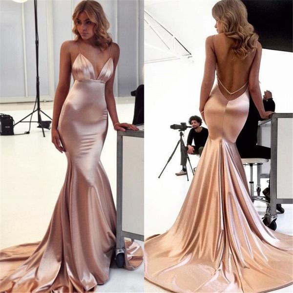 Graceful Open Back Spaghetti Straps Mermaid Evening Dress_2