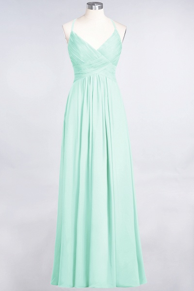 A-Line Chiffon Spaghetti-Straps V-Neck Sleeveless Floor-Length Bridesmaid Dress with Ruffles_34