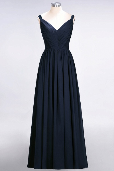 A-Line Chiffon Straps V-Neck Sleeveless Backless Floor-Length Bridesmaid Dress with Ruffles_27