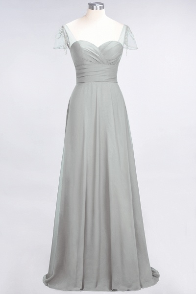 A-Line Chiffon Sweetheart Cap-Sleeves Ruffle Floor-Length Bridesmaid Dress with Beadings_29