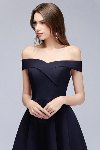 BM0824 Dark Navy Simple Short Off the Shoulder Bridesmaid Dress_3