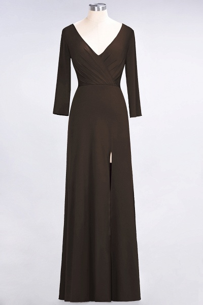 A-Line Spandex V-Neck Long-Sleeves Side-Slit Floor-Length Bridesmaid Dress with Ruffles_10