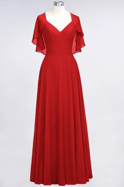 A-Line Chiffon Satin V-Neck short-sleeves Floor-Length Bridesmaid Dress_8