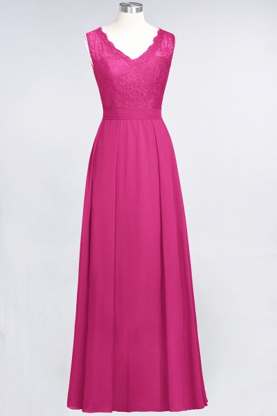 A-Line Chiffon Lace V-Neck Sleeveless Floor-Length Bridesmaid Dress_9