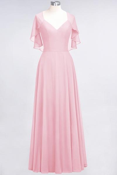 A-Line Chiffon Satin V-Neck short-sleeves Floor-Length Bridesmaid Dress_4