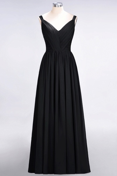 A-Line Chiffon Straps V-Neck Sleeveless Backless Floor-Length Bridesmaid Dress with Ruffles_28