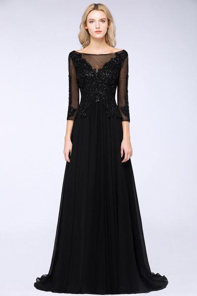 BM0764 Black 3/4 Sleeves Beads A-Line Appliques Bridesmaid Dress_1