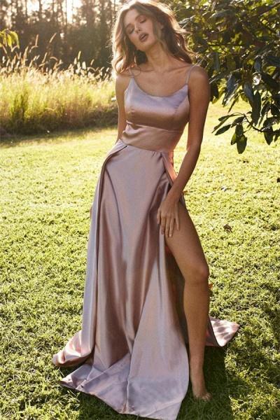 Precious Spaghetti Straps Split Front A-line Prom Dress_1