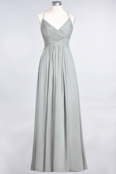 A-Line Chiffon Spaghetti-Straps V-Neck Sleeveless Floor-Length Bridesmaid Dress with Ruffles_29