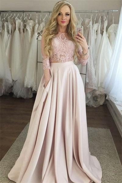 Latest Jewel Pockets Two Pieces Prom Dress_1
