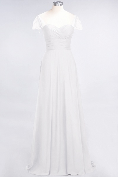 A-Line Chiffon Sweetheart Cap-Sleeves Ruffle Floor-Length Bridesmaid Dress with Beadings_1