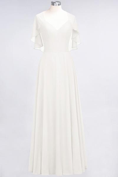 A-Line Chiffon Satin V-Neck short-sleeves Floor-Length Bridesmaid Dress_2