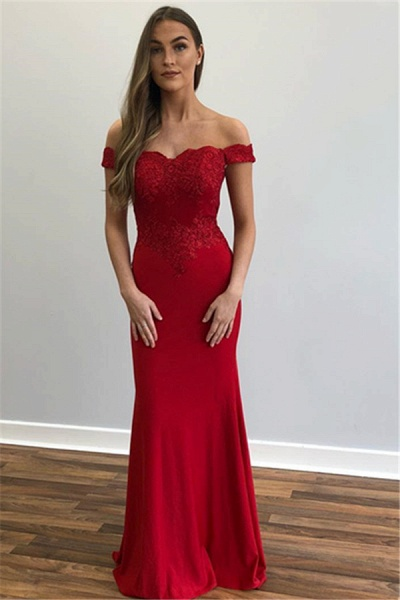 Beautiful Off-the-shoulder Appliques Mermaid Prom Dress_2