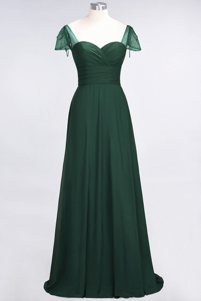 A-Line Chiffon Sweetheart Cap-Sleeves Ruffle Floor-Length Bridesmaid Dress with Beadings_30