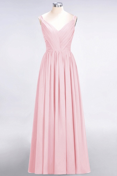 A-Line Chiffon Straps V-Neck Sleeveless Backless Floor-Length Bridesmaid Dress with Ruffles_4
