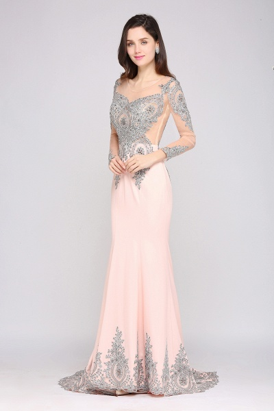 BM0129 Pink Mermaid Long Sleeves Appliques Beads Bridesmaid Dresses_3