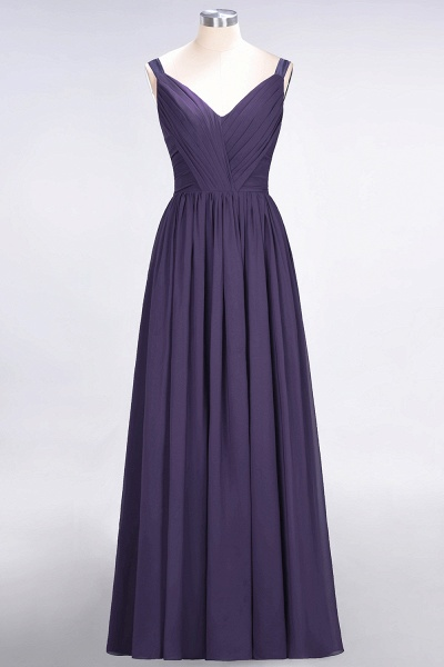 A-Line Chiffon Straps V-Neck Sleeveless Backless Floor-Length Bridesmaid Dress with Ruffles_18