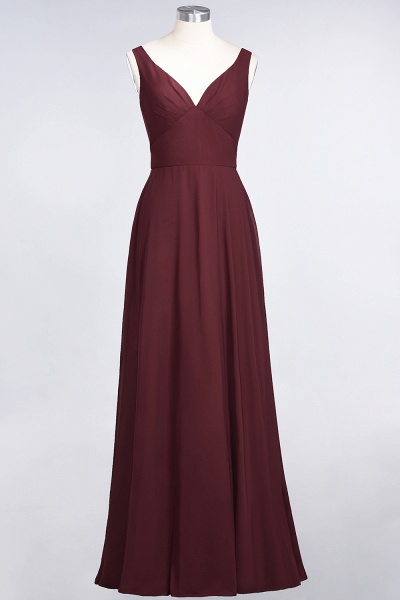 A-Line Chiffon V-Neck Straps Sleeveless Ruffles Floor-Length Bridesmaid Dress with Open Back_10