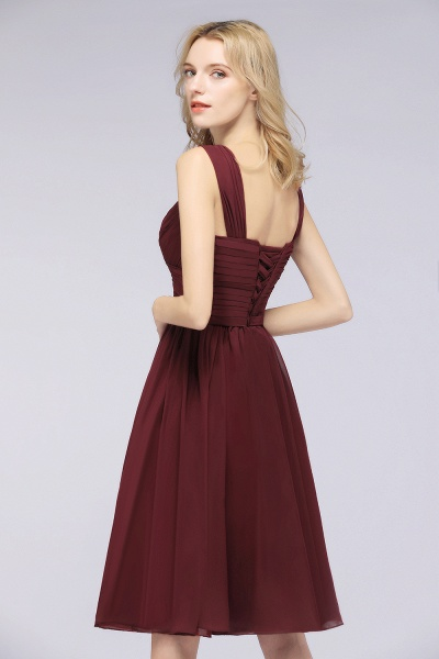 BM0410 Sexy Ruffles Straps Sleeveless Short Bridesmaid Dresses_4