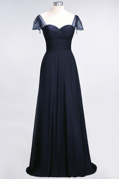 A-Line Chiffon Sweetheart Cap-Sleeves Ruffle Floor-Length Bridesmaid Dress with Beadings_27