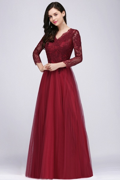 BMbridal Long Sleeves V-Neck Lace Burgundy Bridesmaid Dresses with Appliques_3