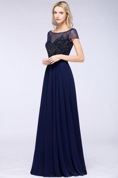 BM0763 Elegant A-Line Short Sleeves Appliques Beads Bridesmaid Dress_4