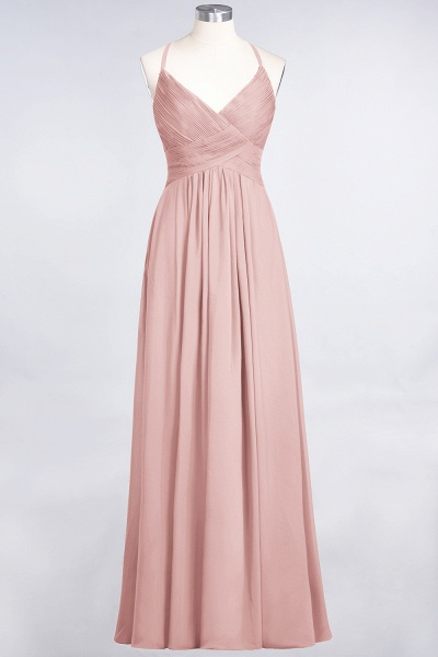A-Line Chiffon Spaghetti-Straps V-Neck Sleeveless Floor-Length Bridesmaid Dress with Ruffles_6