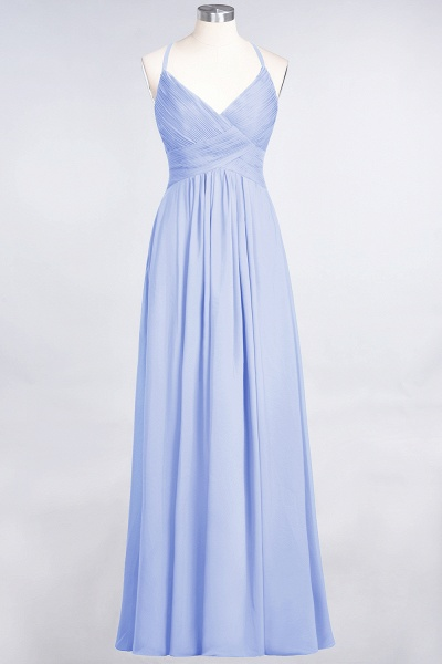 A-Line Chiffon Spaghetti-Straps V-Neck Sleeveless Floor-Length Bridesmaid Dress with Ruffles_21