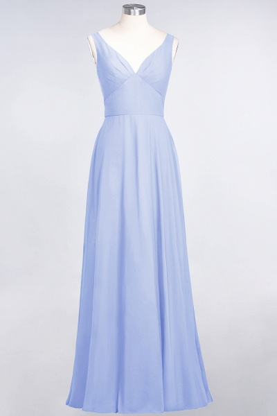 A-Line Chiffon V-Neck Straps Sleeveless Ruffles Floor-Length Bridesmaid Dress with Open Back_21